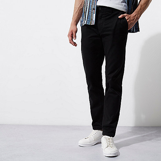 Black casual slim fit chino trousers