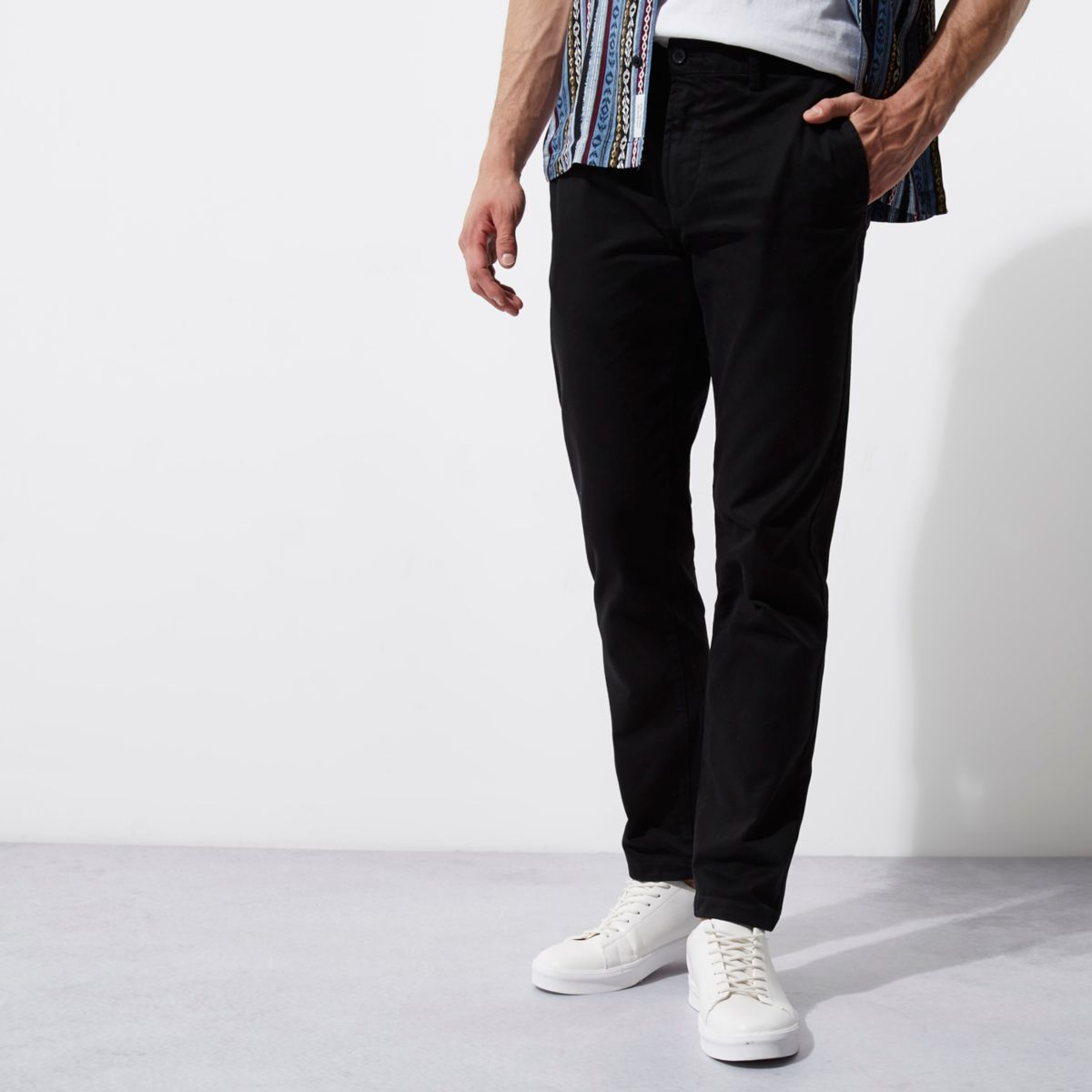 Black casual slim fit chino pants