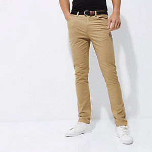 Tan belted slim fit chino trousers