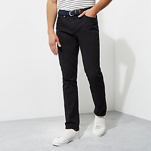 Navy slim fit belted chino trousers