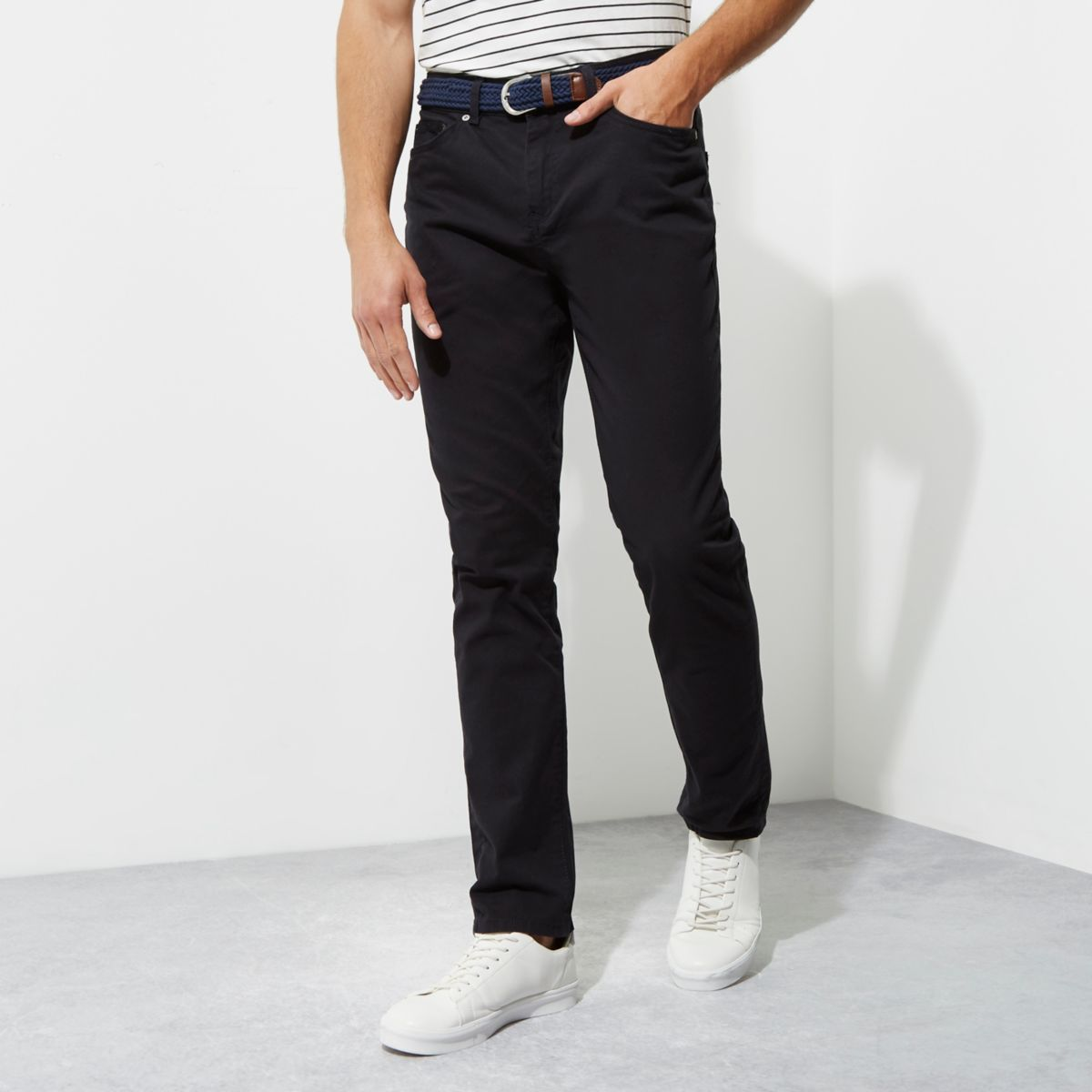 Navy slim fit belted chino pants