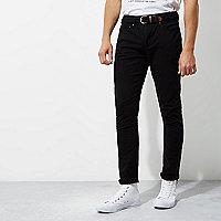 Pantalon chino skinny noir à ceinture