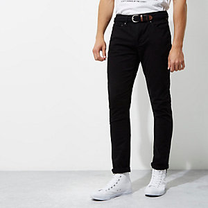 Black belted skinny fit chino trousers