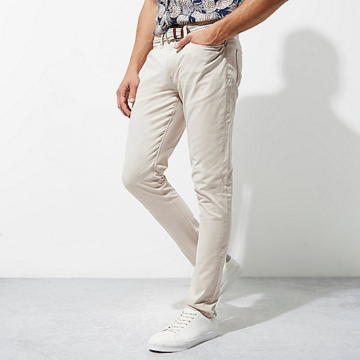 Stone skinny fit belted chino trousers