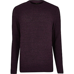 Purple textured knit sweater