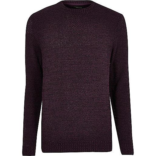 Purple textured knit jumper