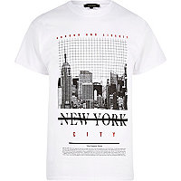 White New York print T-shirt