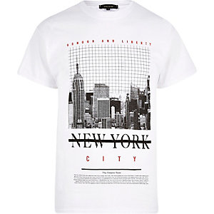 T-shirt imprimé New York blanc