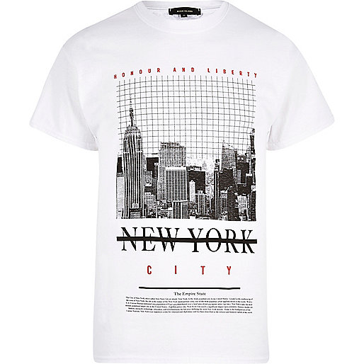White New York print T-shirt