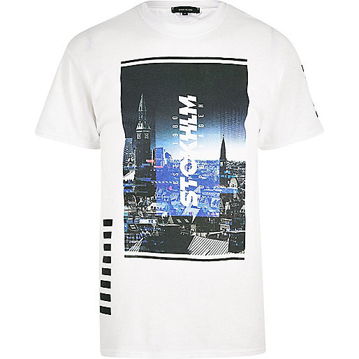 T-shirt imprimé photo de Stockholm blanc