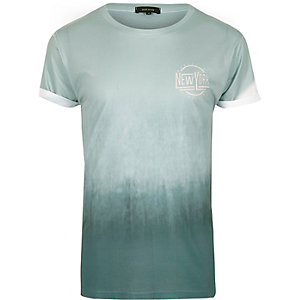 T-shirt imprimé New York délavé vert menthe