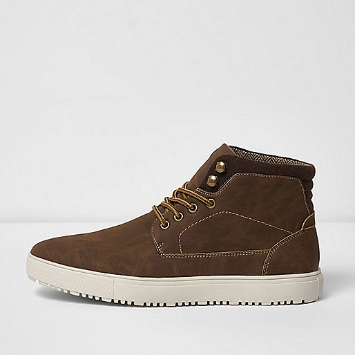 Brown lace-up hi top trainers