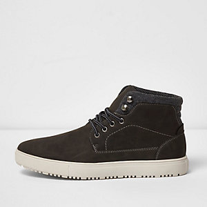 River Island Mens Levis Black leather lace-up trainers Levi's