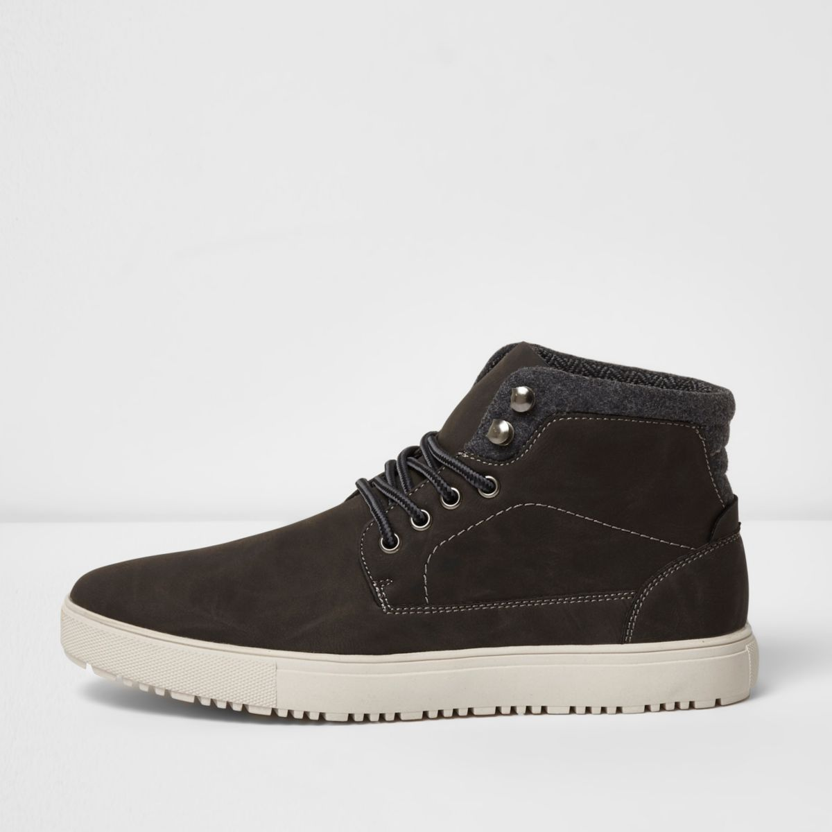 Grey lace-up hi top trainers