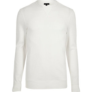 Langärmliges Muscle Fit Sweatshirt in Creme