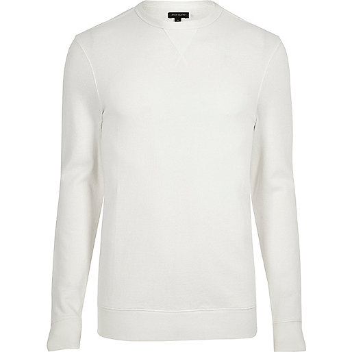 Cream long sleeve muscle fit sweatshirt
