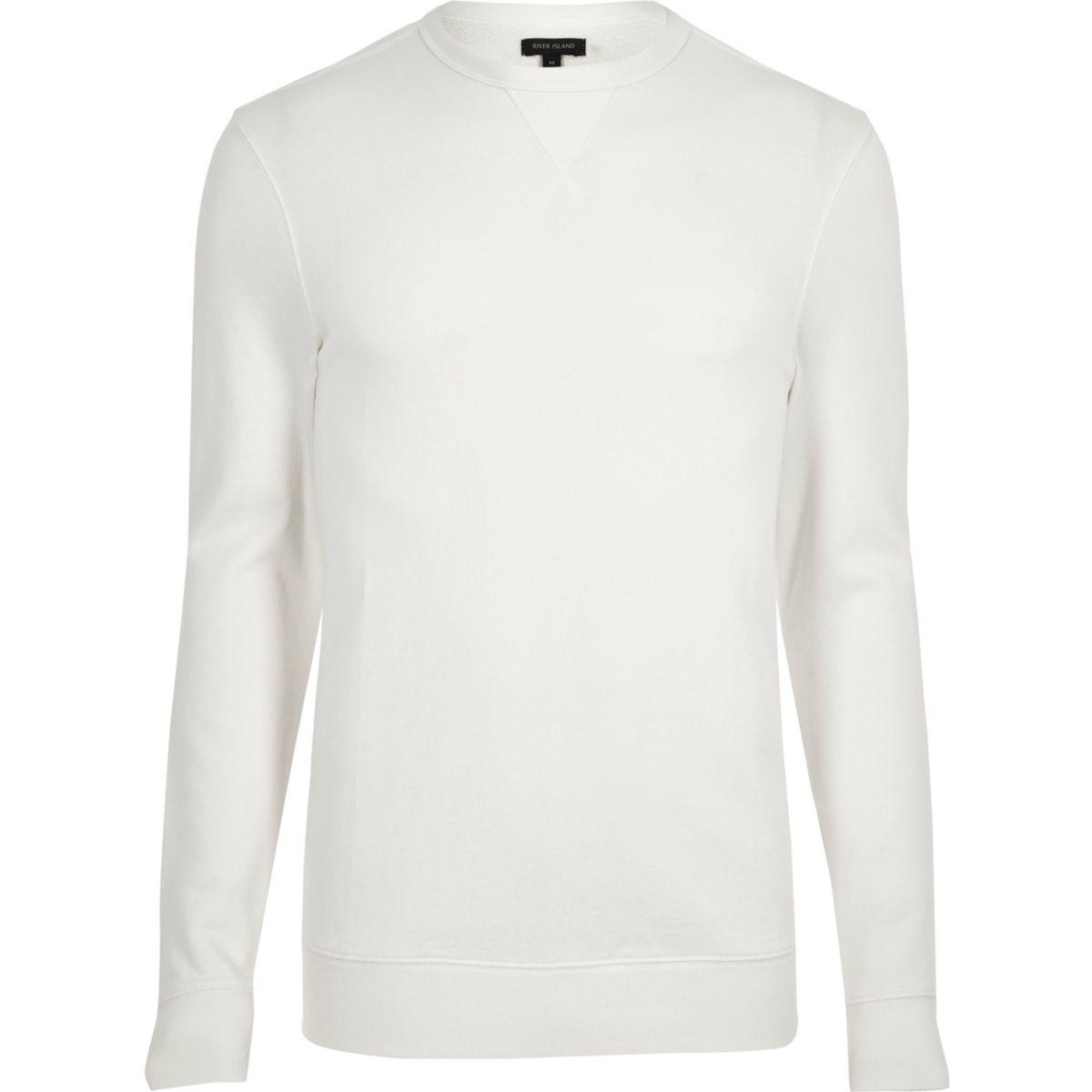 Cream long sleeve muscle fit sweatshirt