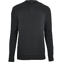 Black long sleeve muscle fit sweatshirt