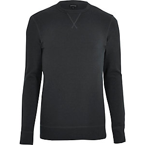 Schwarzes, langärmliges Muscle Fit Sweatshirt