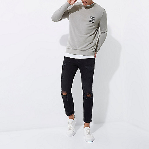 Grey 'NYC' burnout muscle fit sweatshirt