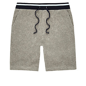 Grey contrast stripe towel shorts