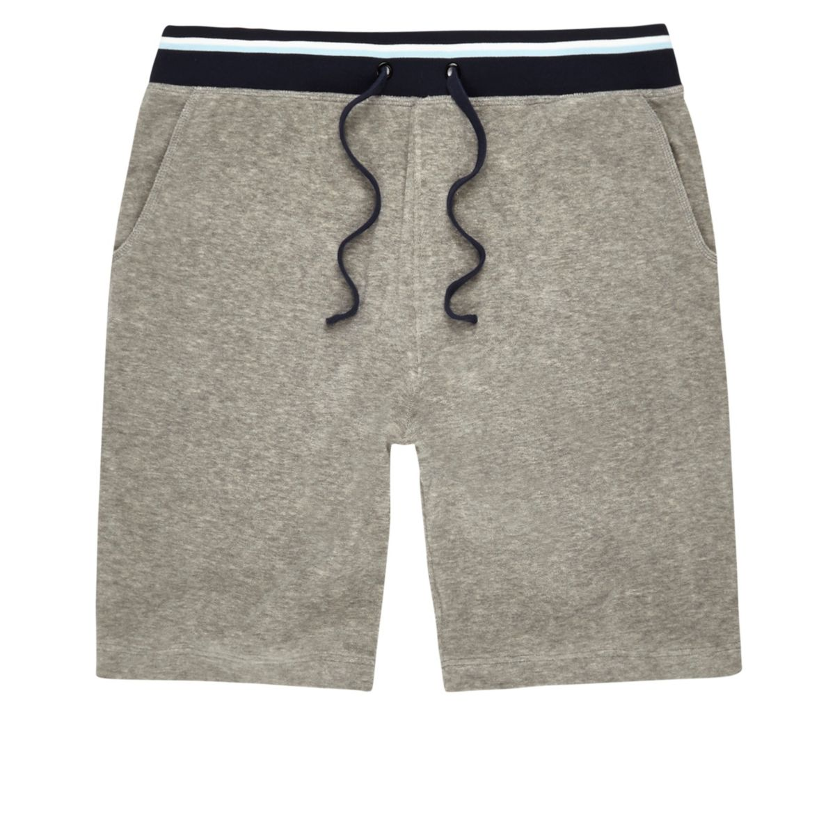 Grey contrast stripe towel shorts