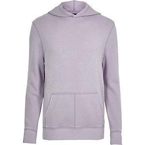 Sweat violet clair effet usé à capuche et manches longues