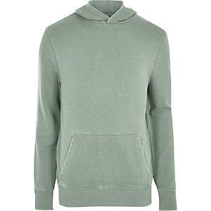 Lichtgroene burnout hoodie met lange mouwen