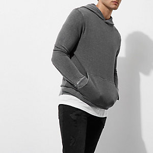 Donkergrijze burnout hoodie met lange mouwen
