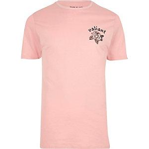 Pinkes Slim Fit T-Shirt mit Blumenmuster