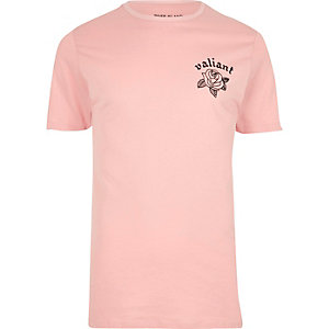 Roze slim-fit T-shirt met bloemenprint en 'valiant'-print