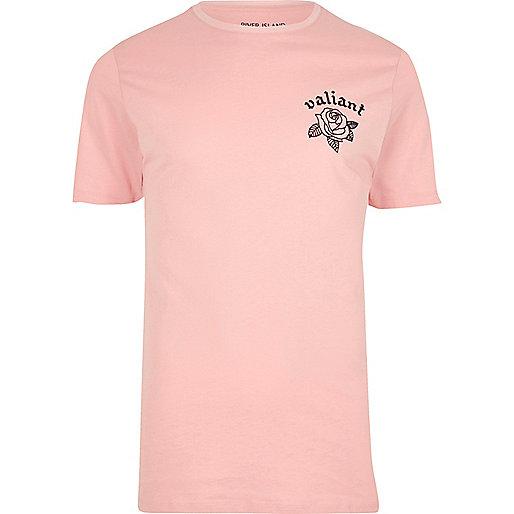 Pink 'valiant' floral print slim fit T-shirt