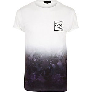 Purple NYC print fade T-shirt