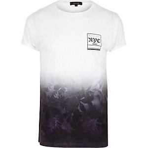 Purple NYC print fade T-shirt