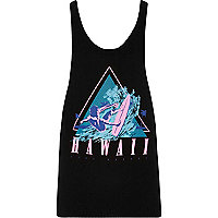 Black 'Hawaii' print racer back tank
