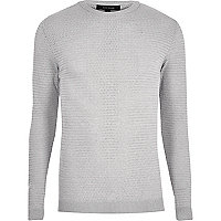 Grey textured slim fit jumper