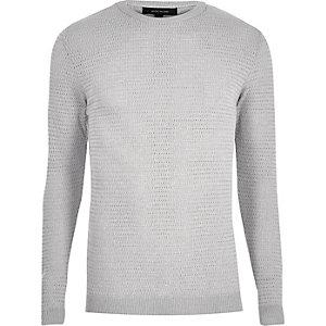 Grey textured slim fit jumper