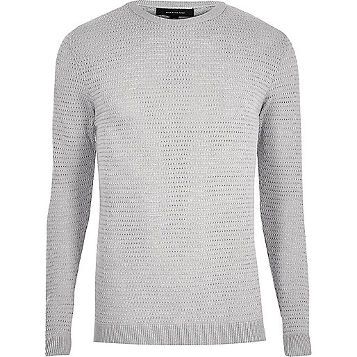 Grey textured slim fit sweater