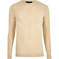 Beige textured slim fit sweater