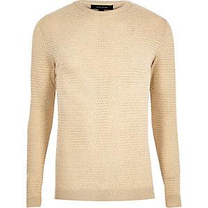 Beiger Slim Fit Pullover