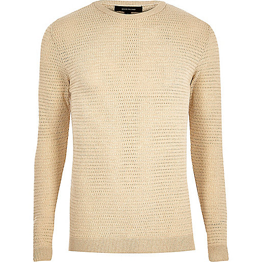 Beige textured slim fit sweater