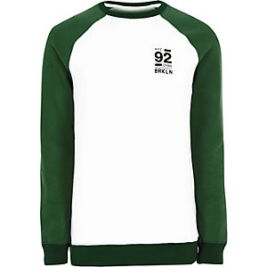 White Brooklyn print raglan sleeve sweatshirt