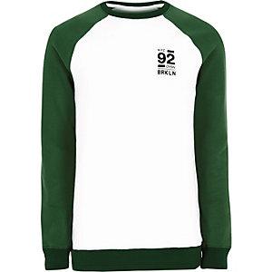 White Brooklyn print raglan sleeve sweatshirt