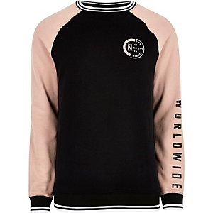 Black tipped raglan sleeve sweatshirt