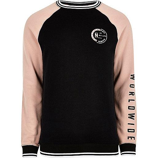 Black tipped raglan sleeve sweatshirt
