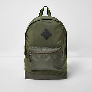 Dark khaki green front pocket backpack