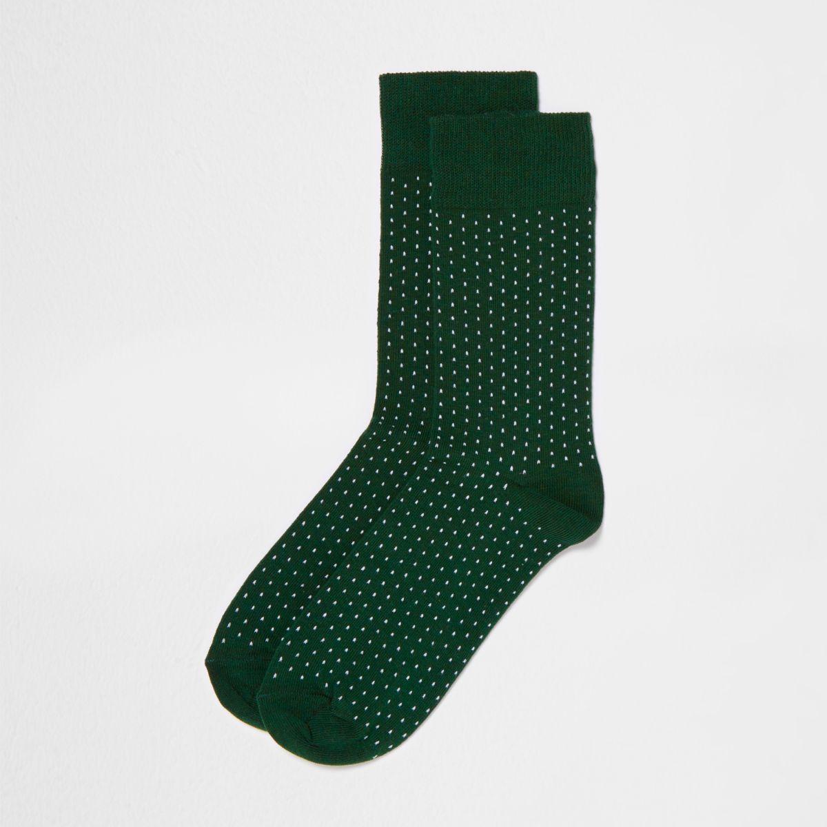 Dark green spot print socks