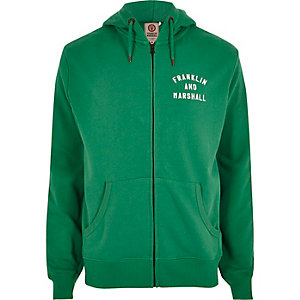 Green Franklin & Marshall zip front hoodie