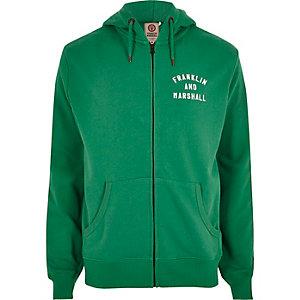 Franklin & Marshall - Groene hoodie met rits voor