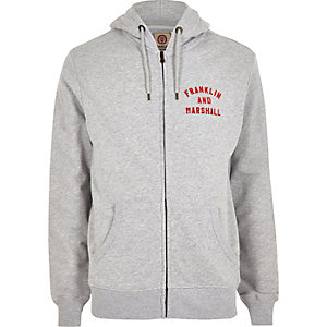 Franklin & Marshall - Grijze hoodie met rits voor